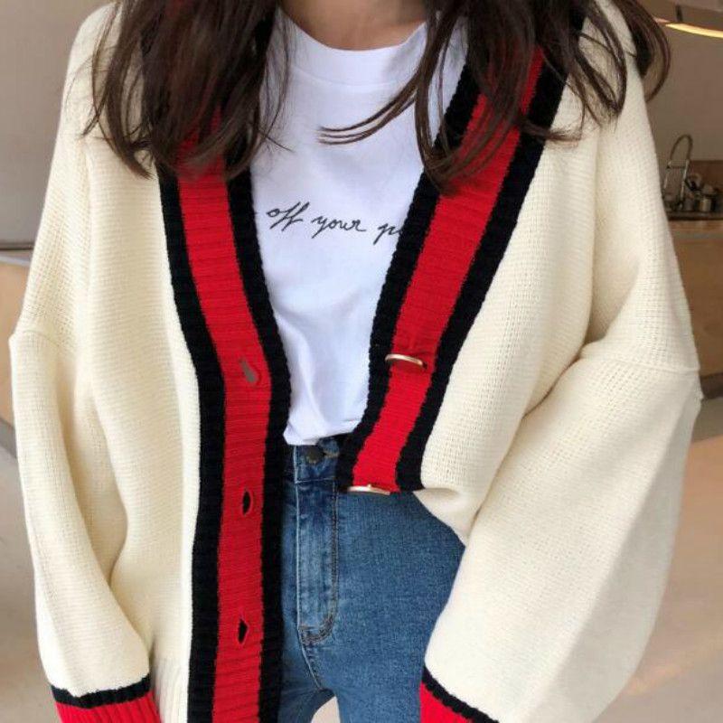 Frauen Herbst V-Ausschnitt Patchwork Strickjacke Pullover Mantel Weiß Lose Plus Größe Langarm Pull Femme Jersey Gestrickte Tops V191130