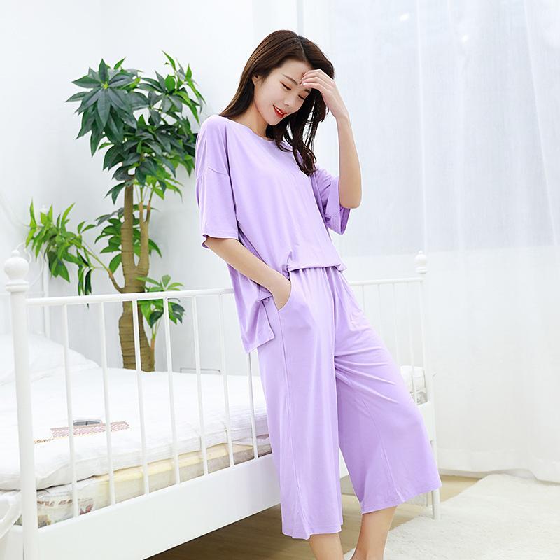 Abiti domestici allentati Sleepwear Summer Modal Due pezzi Set Set Pigiama da donna Collo rotondo Pajama Femminile Set da notte Abbigliamento da notte