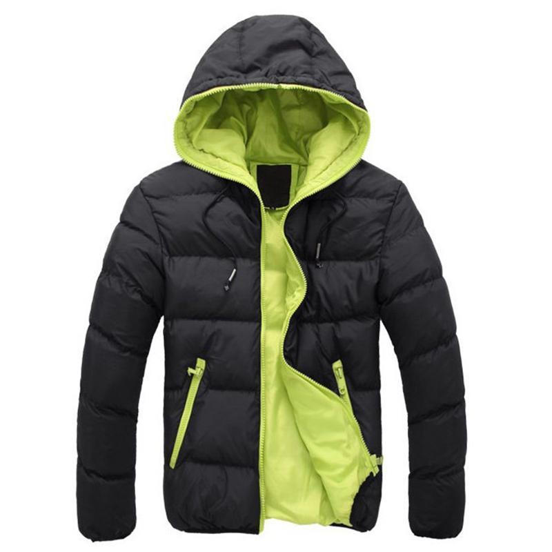 Men's Down Parkas 2021 Marca de moda de invierno Plus Chaqueta de tamaño Mens Solid Streetwear Hood grueso acolchado acolchado burbuja abrigo hombre ropa