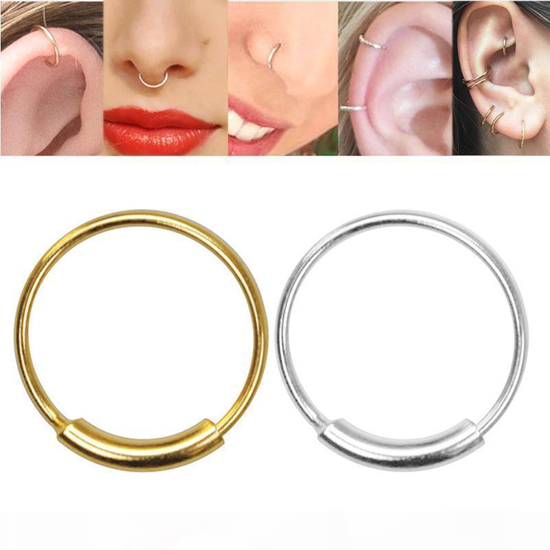 F 16pcs Lot 925 стерлингового серебра Нос кольцо 22 G пирсинга носа ювелирных изделий обруча тела