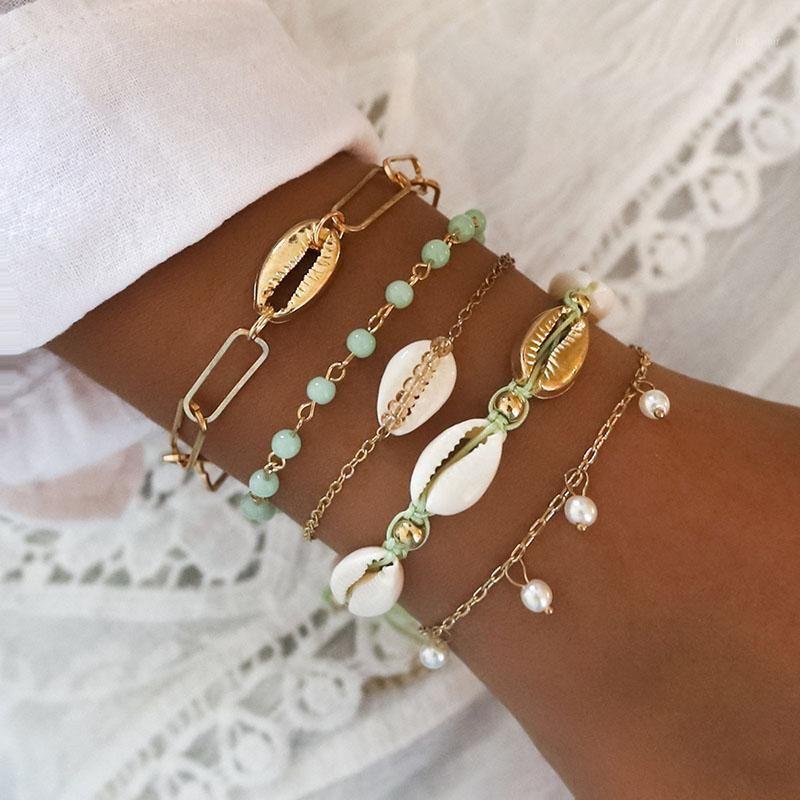 5 stücke / satz gold muschel charme armbänder für frauen pearl perlen kette armbänder set damen multilayer meer shell charme schmuck geschenk1