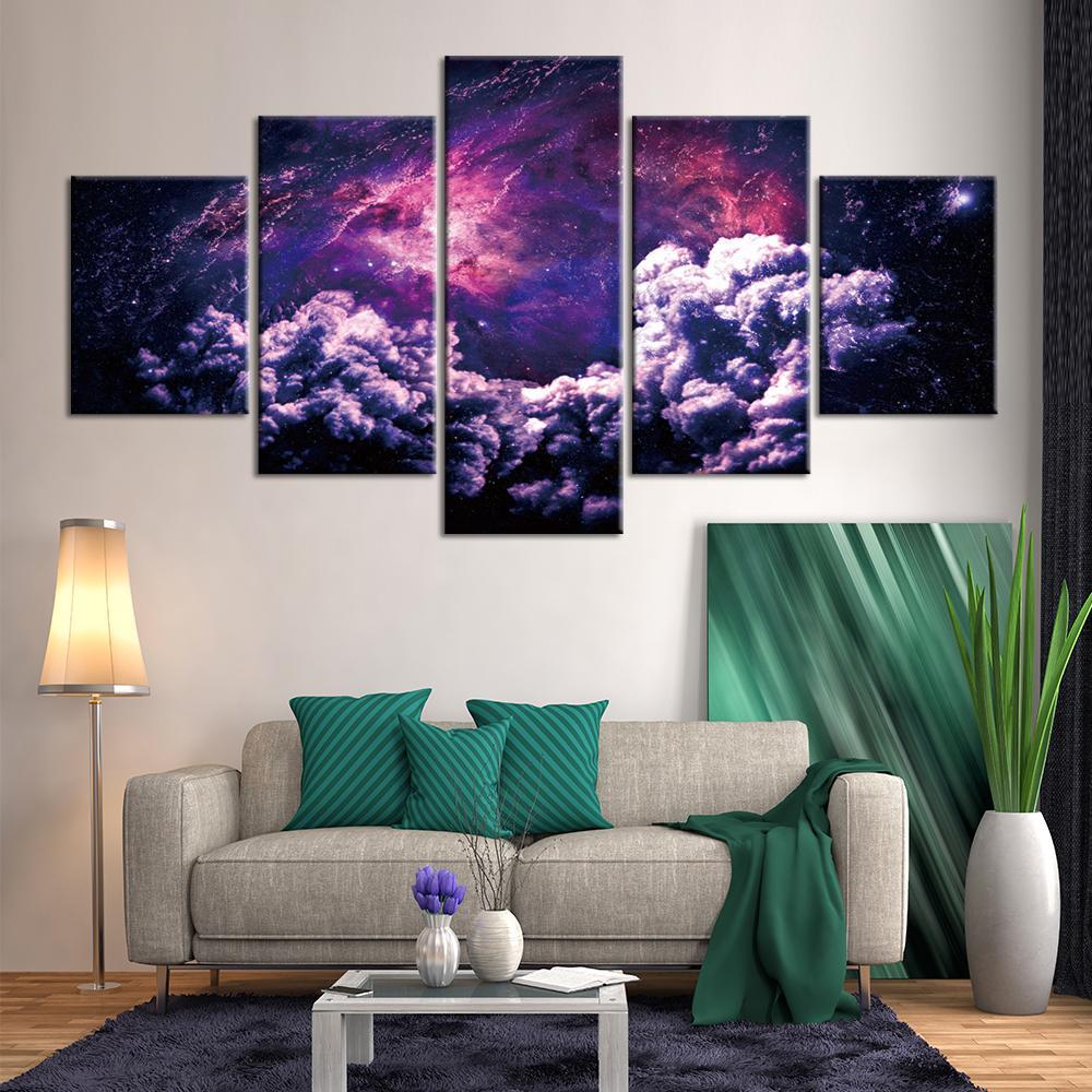 5 패널 우주 풍경 벽 예술 그림 캔버스 거실 홈 장식의 giclee 아트웍 인쇄 및 포스터 그리기