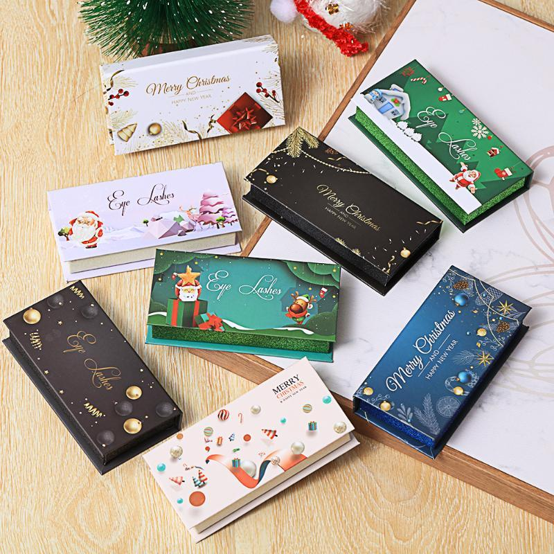 Natal cílios caixa vazia Cílio Falso Embalagem Armazenamento Caixas Lash falsificados feitos sob encomenda do logotipo 3D Mink Lash extensão Compartimento