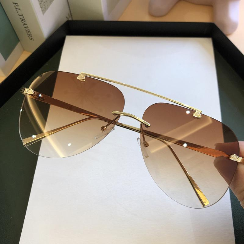 FEISHINI UV Sun Trendy Brille Sonnenbrillen Männer Spiegel Mode Metall Pilot Gläser Womens Randlose Gradientenschutz 2021 Marke Nhtej