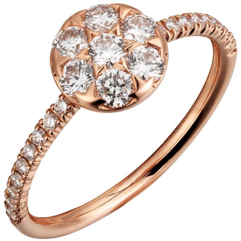 14k AU585 ROSE Bague Gold Femmes Anniversary Anniversary Anneau de fiançailles Ronde Moissanite Diamant élégant branchée romantique