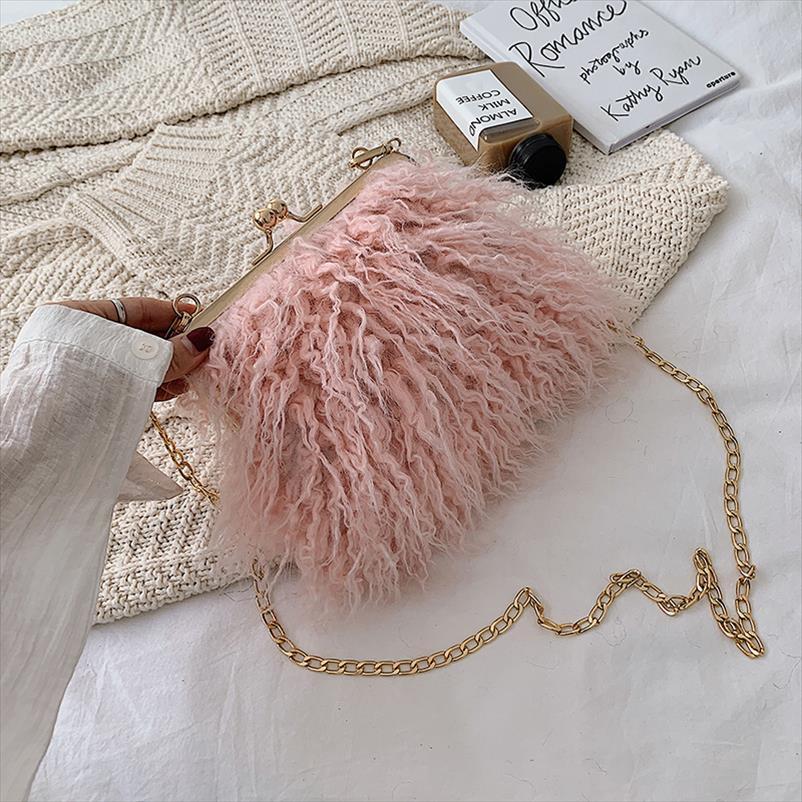 Frauen-Strauß-Pelz-Crossbody Beutel für Frauen-Handtaschen-Solid Color Schulter Messenger Bag Tageskupplungen Handtaschen 8239