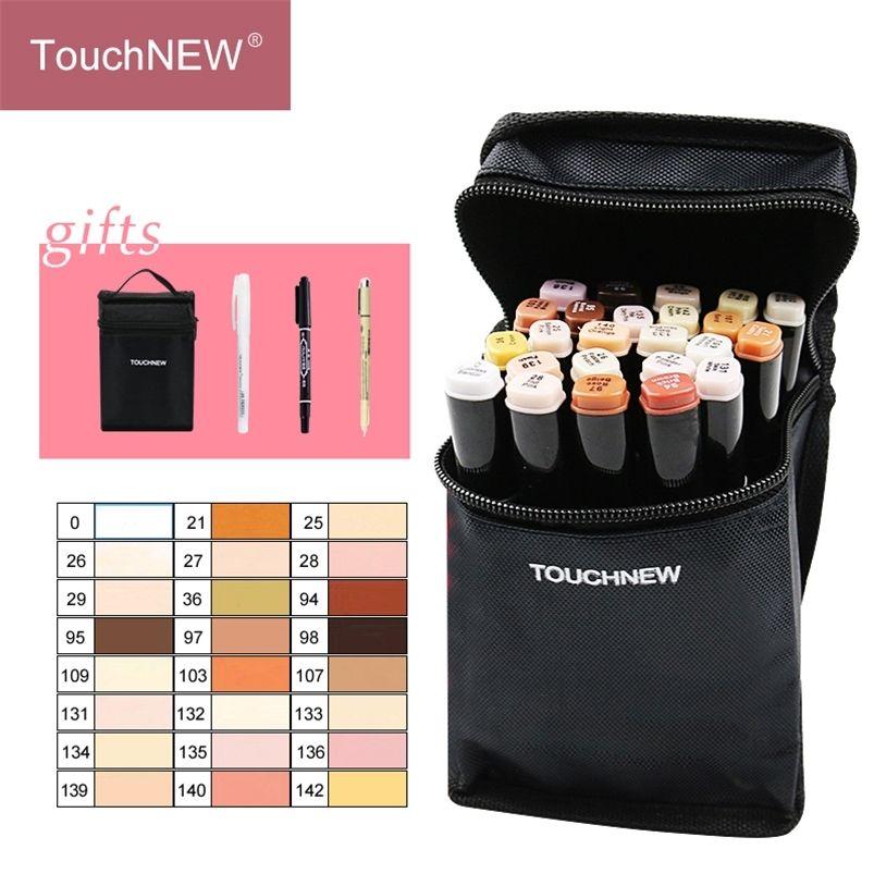 TouchNew 12 / 24Colors marcador de tono de piel conjunto Dual Head Base a base de alcohol Bocetos de bocetos de bolígrafo para dibujar suministros de arte de animación 201222