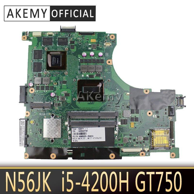 Akemy N56JR For ASUS N56JR Laptop motherboard N56JK mainboard REV2.0 -4200HQ with GT740M Graphics card