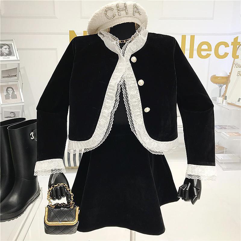 Iki Parçalı Set Kadın Sonbahar / Kış 2020 Mahkemesi Tarzı Dantel Patchwork Coat + Yabancı Stil ile Yüksek Vuran A-Line Etek