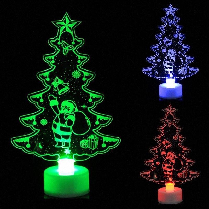Creativo Led luci colorate luminose acrilico piccolo albero di pupazzo di neve Babbo Natale Piccolo Night Lights Natale Regali Decorazione t5y8 #