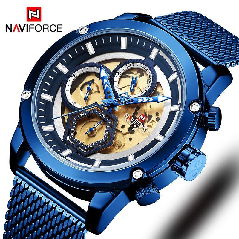 New Naviforce мужские часы синий скелет набрал светлые мужские наручные часы роскошный дизайн кварцевые часы мужчины роскошные часы водонепроницаемый T200112