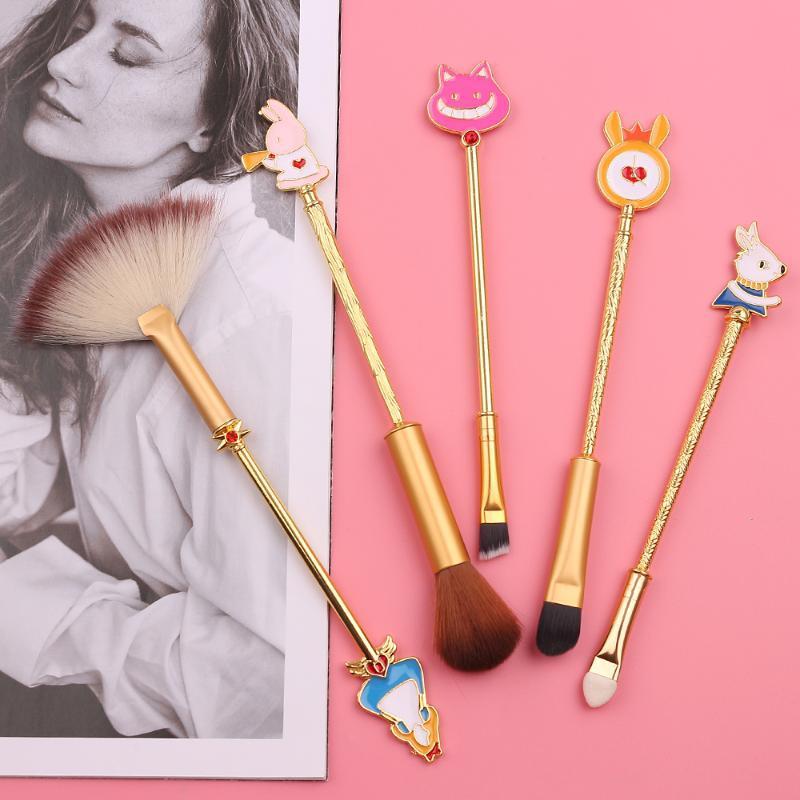 5pcs / Set Alice no país das maravilhas Escovas Conjuntos de ferramenta de beleza Poder Eyeshadow maquiagem sobrancelha escova macia de cabelo sintético