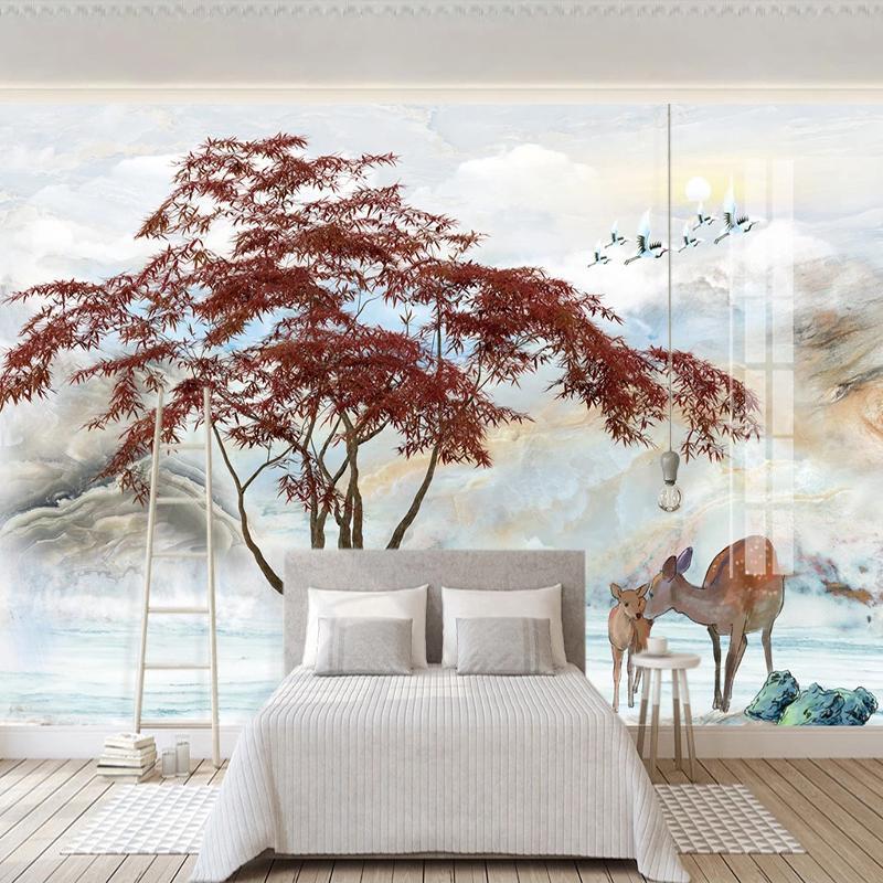3D حسب الطلب صورة خلفية الجداريات جدار الصينية نمط جبل المياه رسم المناظر الطبيعية غرفة المعيشة غرفة نوم خلفية كارتون Peint