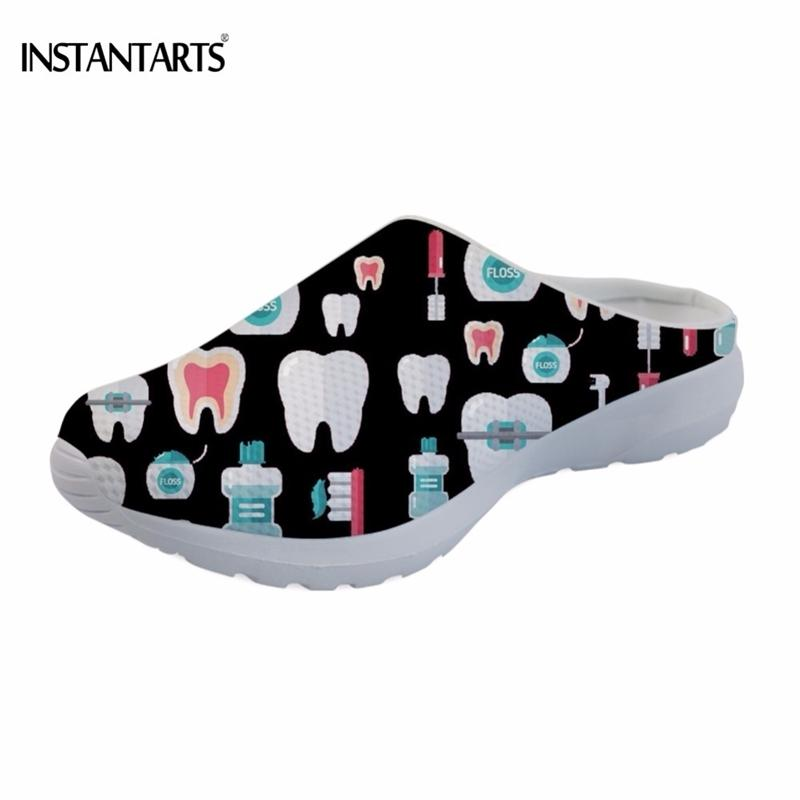 INSTANTARTS Impresión 3D Dentista / Dientes Slip en Sandalias Mujer Casual Ligero Ligero Verano Negro / Rojo Zapatillas Playa Femenina Zapato Y200405