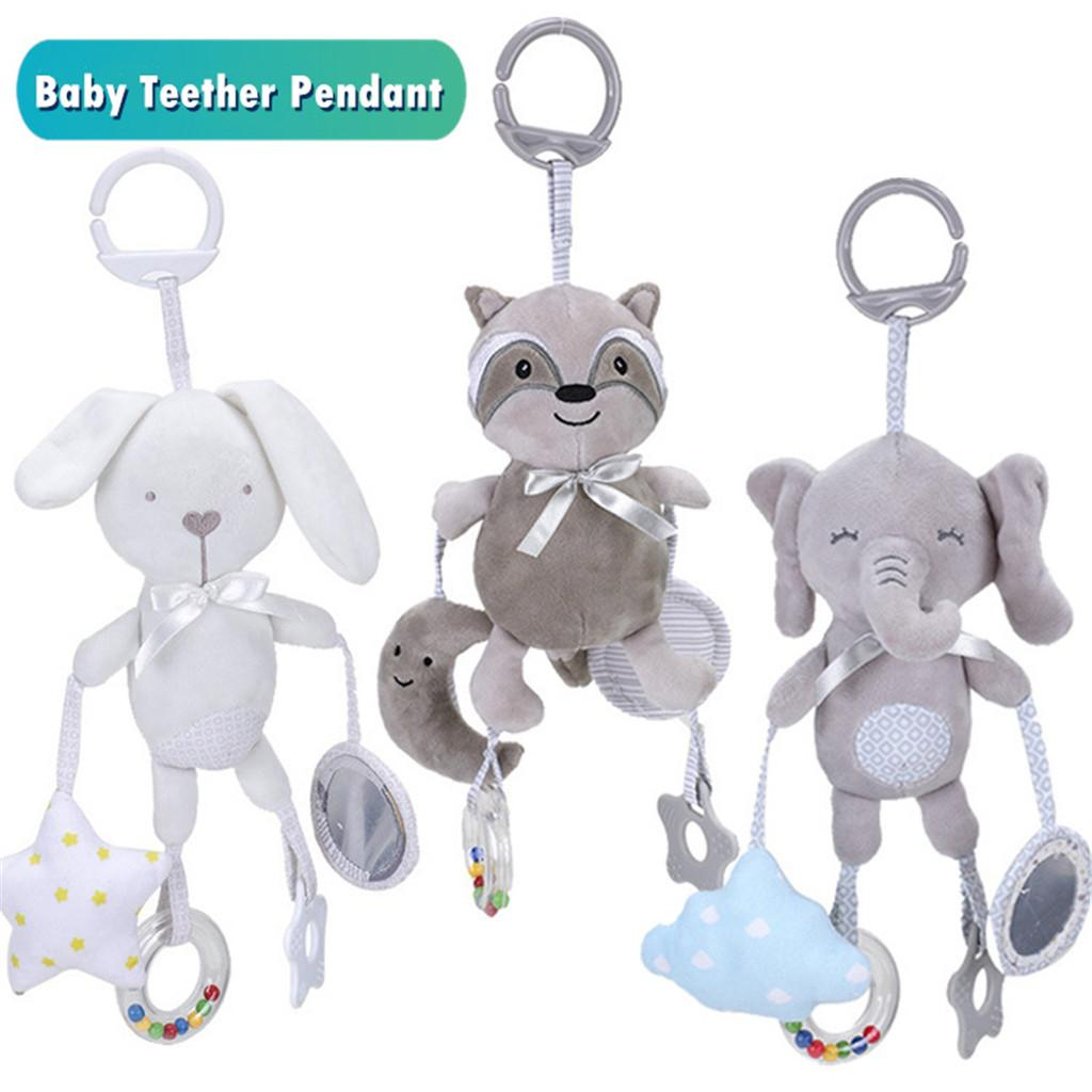 Doll Soft Bear Bed Appease Rattles Toys Baby Teether Sound Cartoon Animal Hanging Bell Rattle Stroller Infant Doll Toy Gift