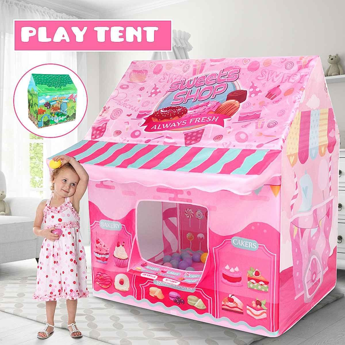 Kids Play House Game Tent Toys Dinosaur Pink Ice Cream Boy Girl Princess Castle Portable Indoor Outdoor Children Play Tent House 1020