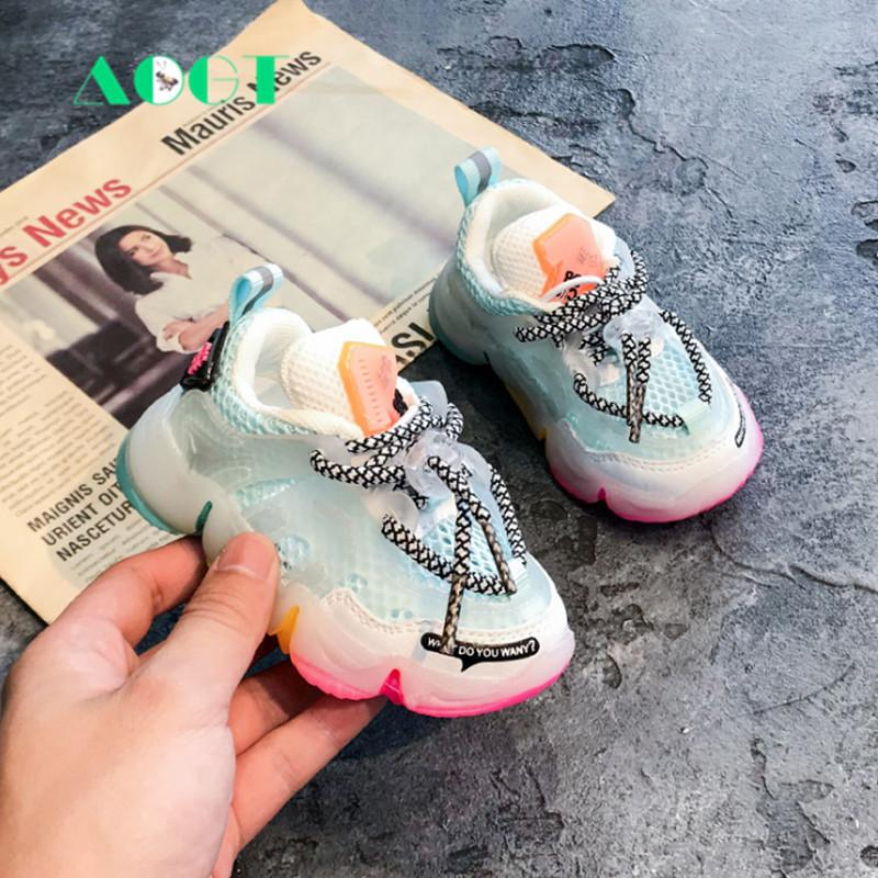 AOGT Autumn Infant Girl Boy Shoes Breathable Baby Sneakers Fashion Color Matching Soft Bottom Toddler Walkers Shoes 201114