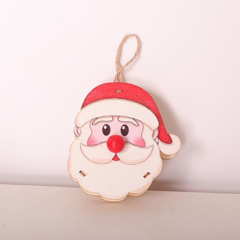 Быстрая перевозка груз 2020 INS горячей продажи деревянной куклы с огнями рождественских украшений Рождества окна дерева кулон праздник украшение партии F6902