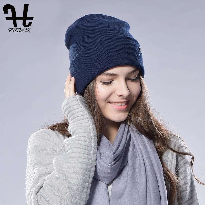 Beanie / черепные колпачки Furtalk Beanie Hat для женщин зимняя вата вязаные тучномыслия вязаные туристы весенние часы кепки женские мужчины пары чулок шляпы 2021