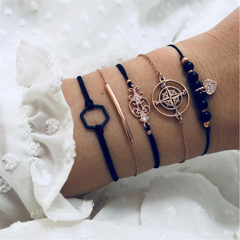 Творческий черный бисера браслет цепи женщин Мода Сердце Компас Браслет Браслеты Ювелирные наборы подарков