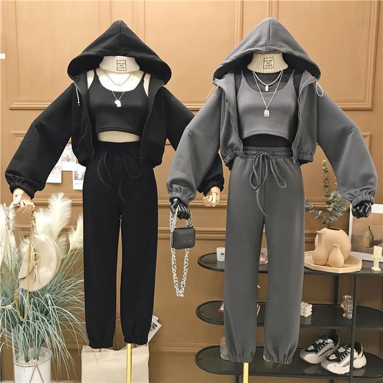 3 2021 новой женской ансамблевой части; Женская команда спортивные длинные рукава с капюшоном Nightgown + высокая талия лодыжки привязанные штаны MNVW HJPN