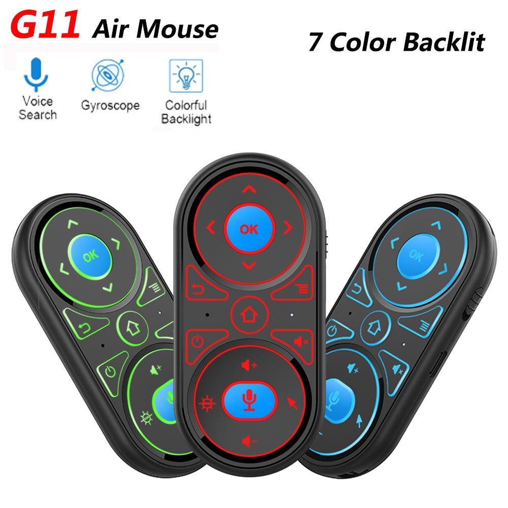 최신 G11 에어 마우스 Google 보이스 마이크 RGB 백라이트 자이로 원격 제어 IR 학습 2.4G Wilecres 충전식 미니 원격