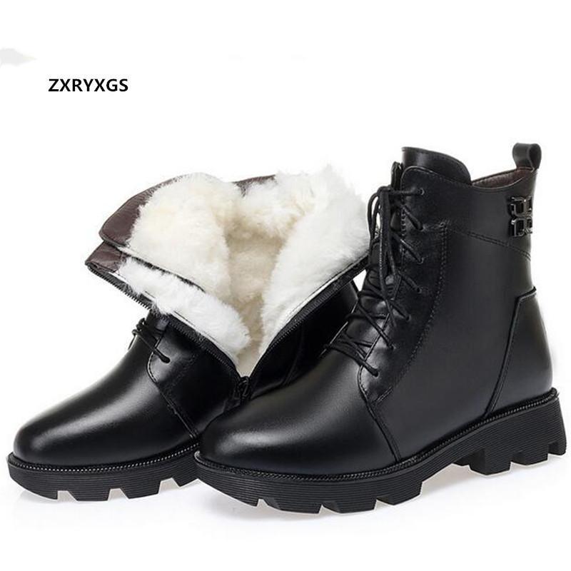 Buty 100% Natural Full Cowhid Winter Skórzane Kobiety Czarna Gruba Obcas Niepoślizgowa Ciepła Wełna / Pluszowy śnieg