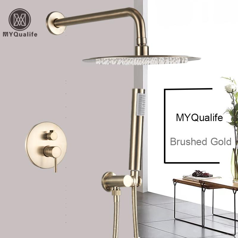 Luxurious Brushed Gold Mixer Rotate Tub Spout Wall Mount Rainfall Head Hand Shower Faucet 1011