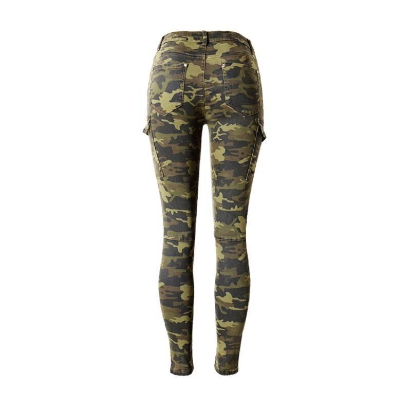 High Street donne jogging Camouflage Leggings tasche casual Streetwear Jeans elastici Skinny pantaloni della matita denim pantaloni femminili