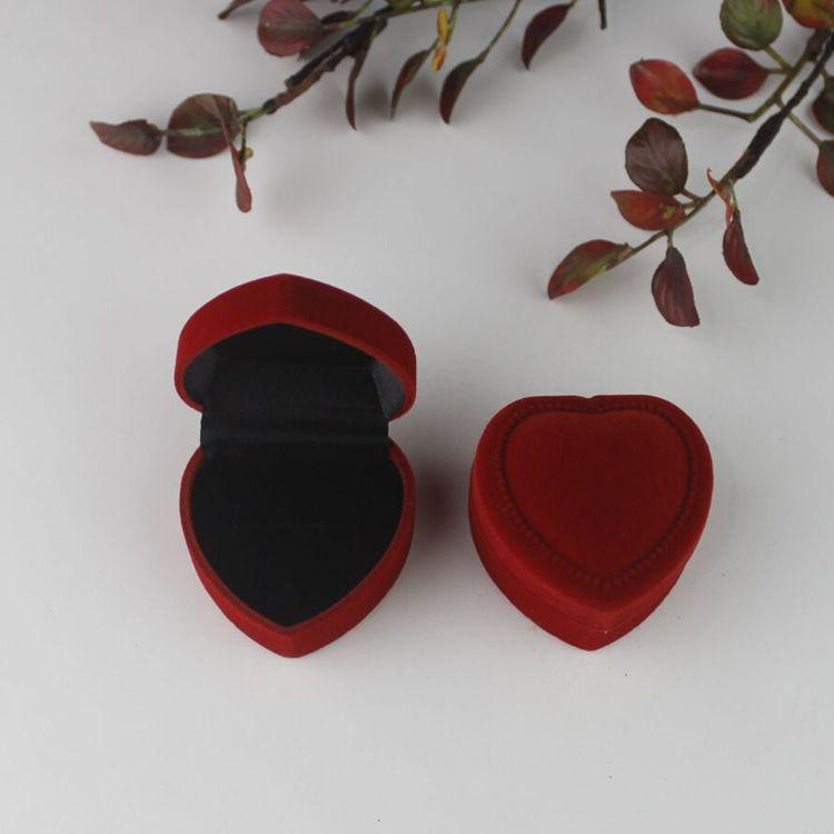 10 colors Velvet Heart Shaped Jewelry Package Classical Ring Earrings Jewelry Box Valentine's Day Wedding Gift Package Box HHA3416