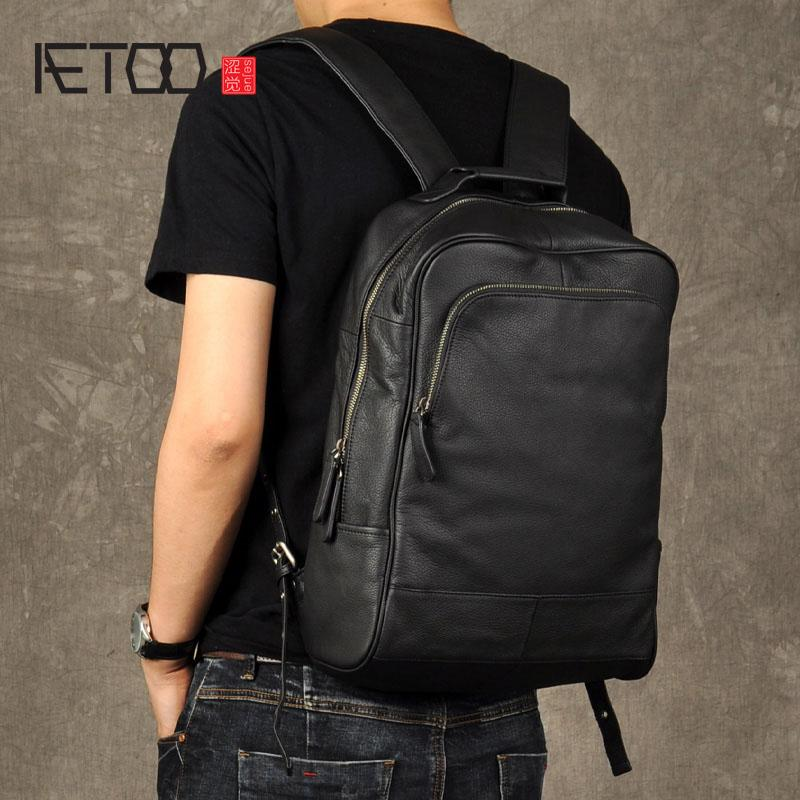 HBP AETOO 원래 정품 가죽 레트로 남자 배낭 진짜 암소 가죽 대용량 배낭 남자 노트북 백팩 비즈니스 가방
