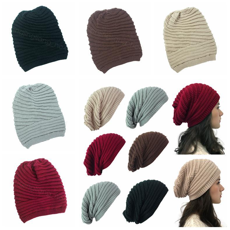 Invierno de las mujeres hizo punto el sombrero de punto sombreros de la manera caliente al aire libre sólido del capo Skullies Gorros suave unisex encepado Beanie informal FFA4466-8