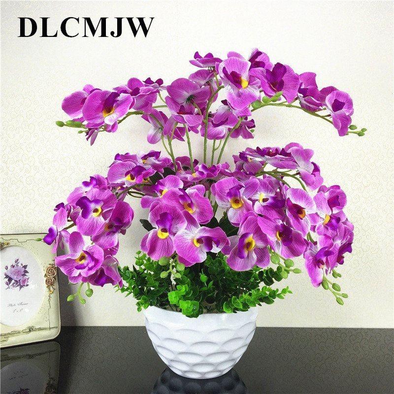 Fleurs artificielles soie Orchid bricolage artificielle Orchidée Faux Bouquet de fleurs pour le mariage Bureau à domicile fête Décoration Mwm3 #