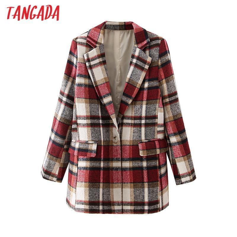 Tangada Femmes Femmes Rouge Paies Jacques épais Jacket Housses à manches longues Poche 2021 Mesdames Élégante manteau DA108