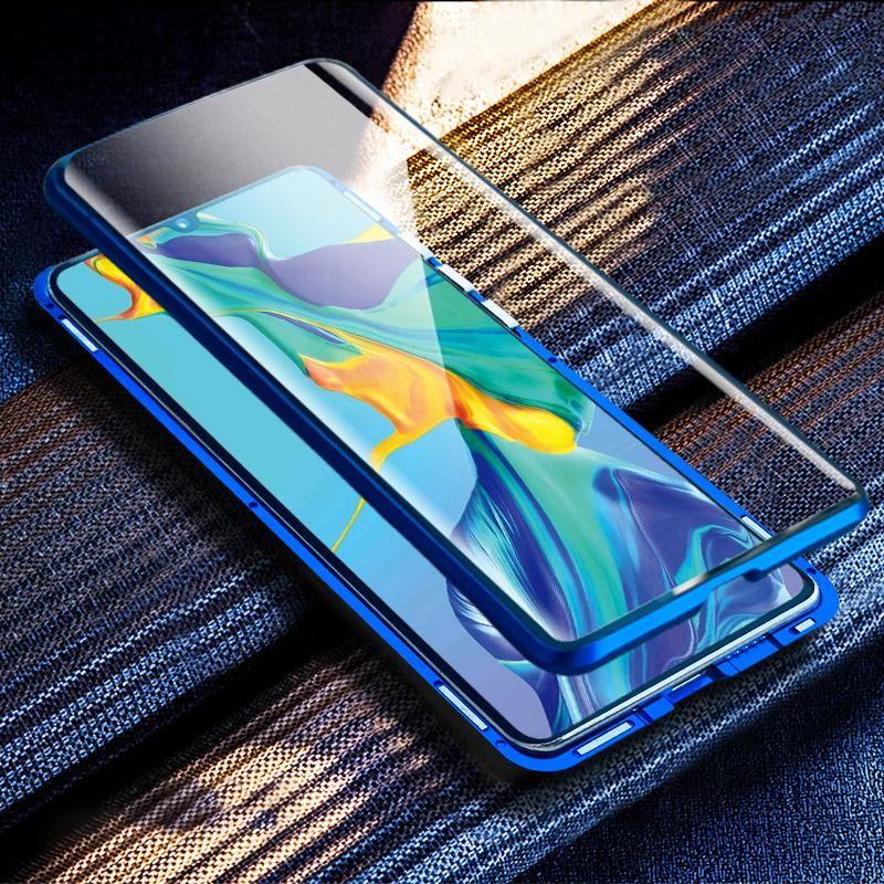 Absorção magnética Casos de metal para Samsung Galaxy A50 Telefone Back Cover Dupla face Vidro Samsunga50 Galaxya50 2019 Armor H Jlltvd