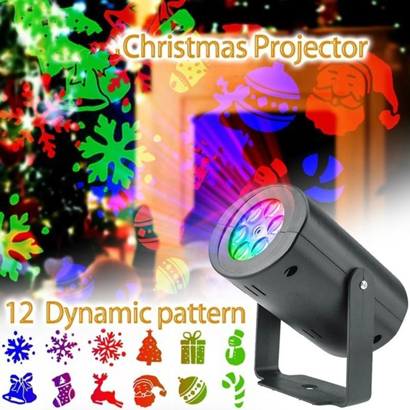 Weihnachten 12 Muster Automatische rotierende LED-Projektor-Lichter wasserdichte Innen-Weihnachtsstrahler Nachtlichter Landschaftslampen
