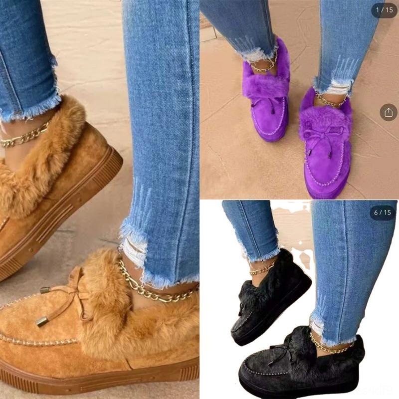 hw9u3 femmes pantoufles hiver chaud vadrouille de coton chaussures maison plus chaussures de velours chaussures à domicile douce pantoufles de coton anti-glissement de coton peluche bottes de neige hommes