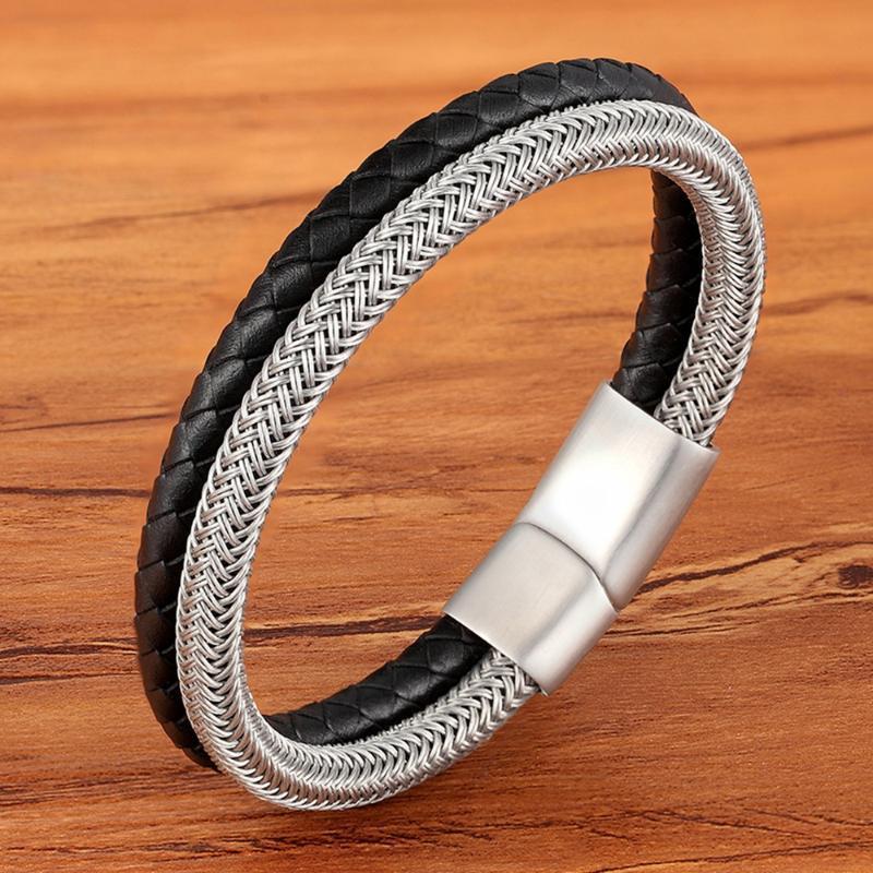 Проволока из нержавеющей стали TYO Магнитная застежка Двухслойного браслета натуральный браслет натуральной кожи