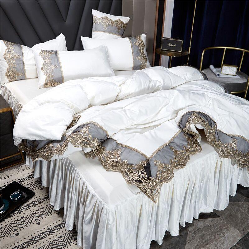2021 Conjuntos de ropa de cama blanca Cubierta Edge de encaje Edredones de cama de cama conjuntos de almohada Cajas de almohada Luxury King Size Ropa de cama Decoración del hogar