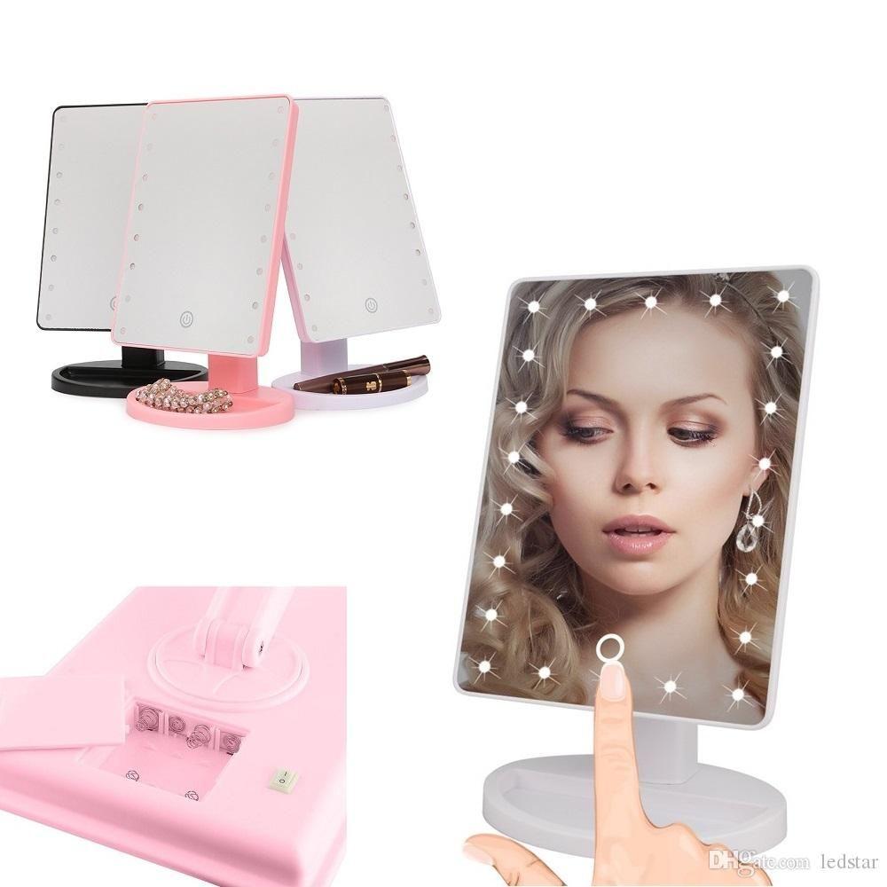المكياج الصمام مرآة 360 درجة دوران لمس الشاشة المكياج مستحضرات التجميل قابلة للطي المحمولة مدمجة جيب مع 22 الصمام ضوء ماكياج مرآة