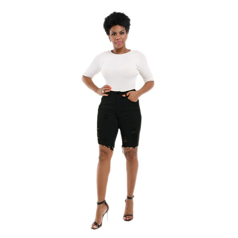 Le donne di colore Candy Denim shorts a vita alta Hole slim fit con Cerniera matita dei jeans della signora Shorts Moda