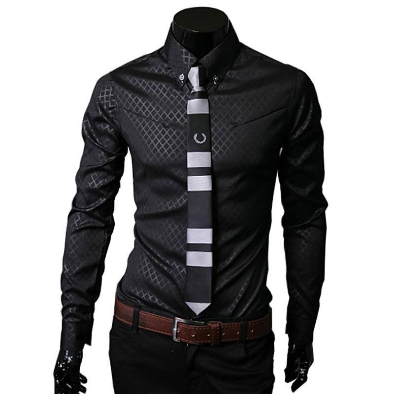 Оптовая торговля корейская дикая мужская клетчатая рубашка стройная подходящая повседневная платье с длинным рукавом Бизнес социальные мужчины одежда плюс размер белый lj200928