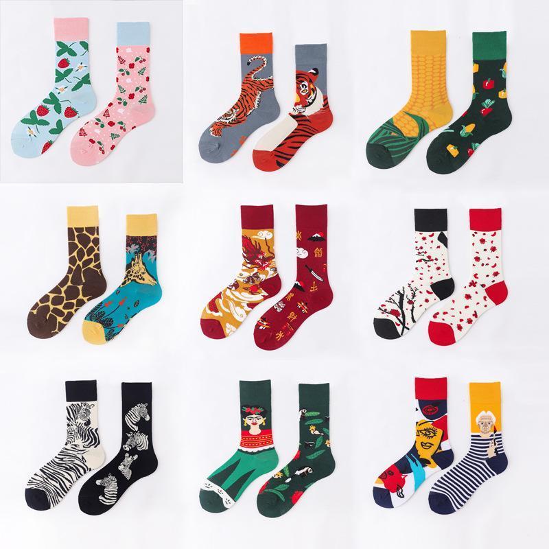Calcetines para hombres Harajuku Divertido Dibujos animados Moda linda Otoño Invierno Pareja Algodón Ab Felices Regalos Para Hombres Personajes Casual Casual Calcetines