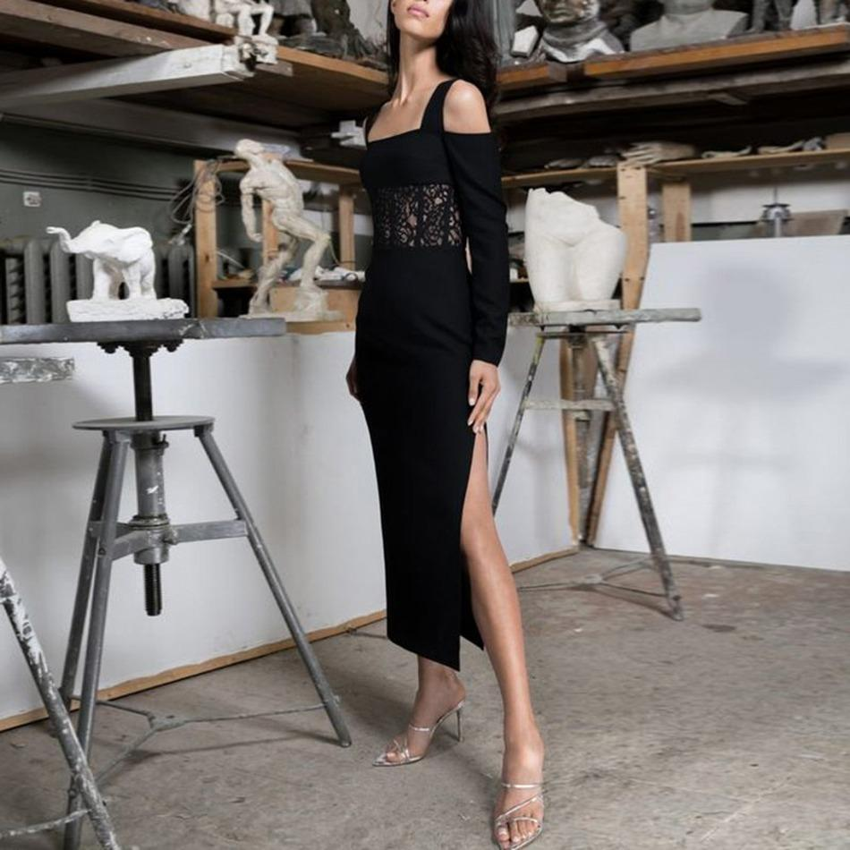New 2021 Style of Women Romantic Sleeves Long Corset High Slit Dressed Medium Length 9i9t