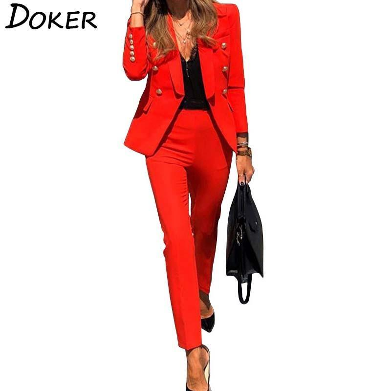 Outono Inverno Blazer Set Para Mulheres Long Sleeve Pants Two Pieces Suit Mulher Blazer ternos elegantes Casual Wear Ladies Escritório