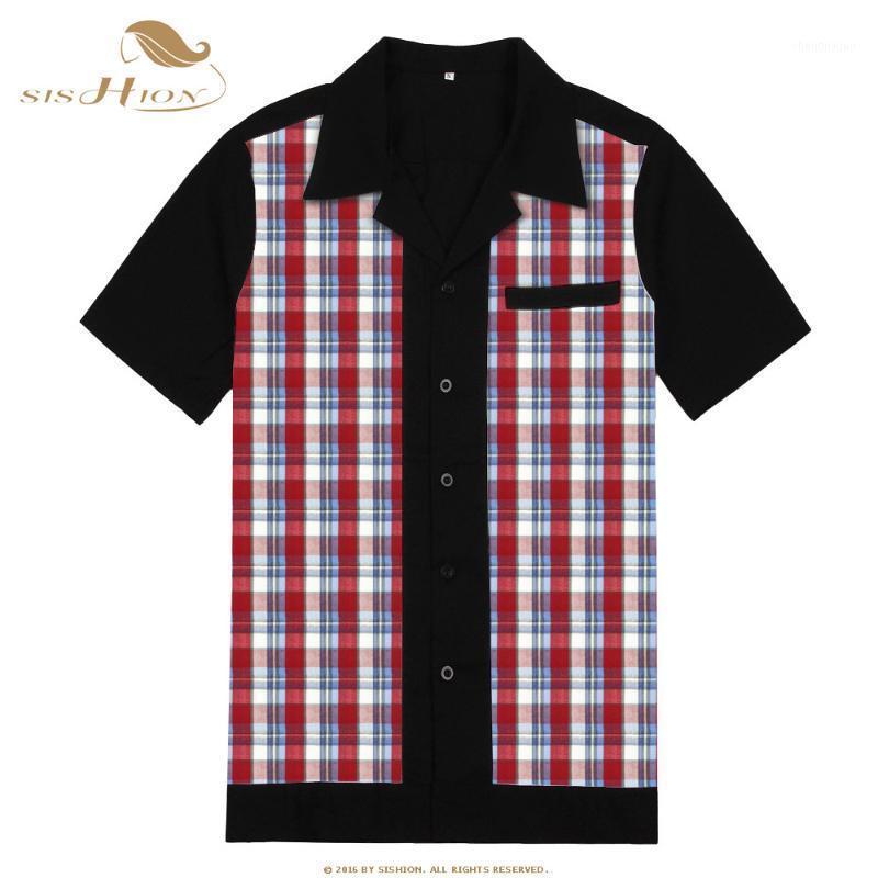 Sishion Yeni Rahat Kaya Bowling Erkekler Gömlek Bluz ST111 Kısa Kollu Siyah Pamuk Vintage Ekose Gömlek1