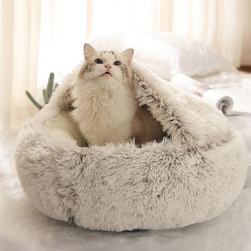 Winter Cat кровать круглый плюшевый теплый мягкий PET кровать для кошки мягкий длинный плюшевый коврик для маленьких собак щенок спальный мешок кошек гнездо