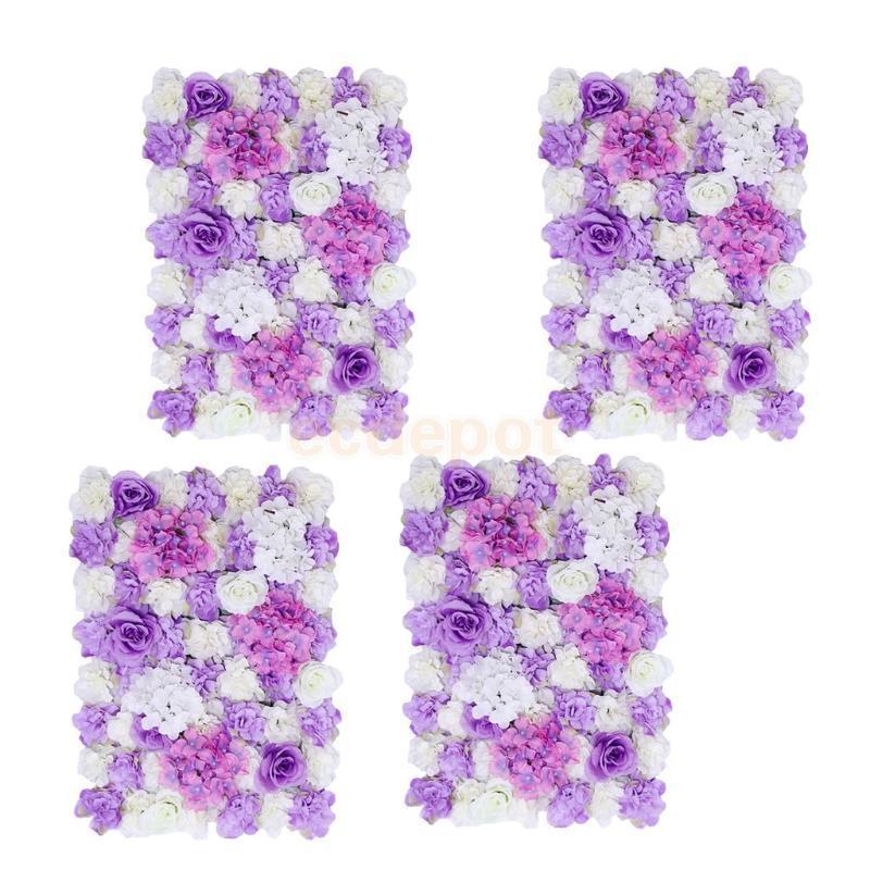 4 pièces fleur artificielles panneau mural de mariage salle de mariage décor fleur violet