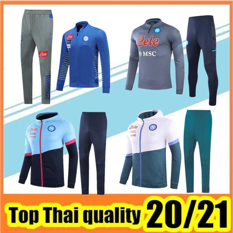 Мужская Napoli Soccer Tougstsuit Zip Куртка Hoodie 2020 2021 Мужская Неаполь Футбольный Косгурий Тренинг Tuta Chandal Выжитие бега