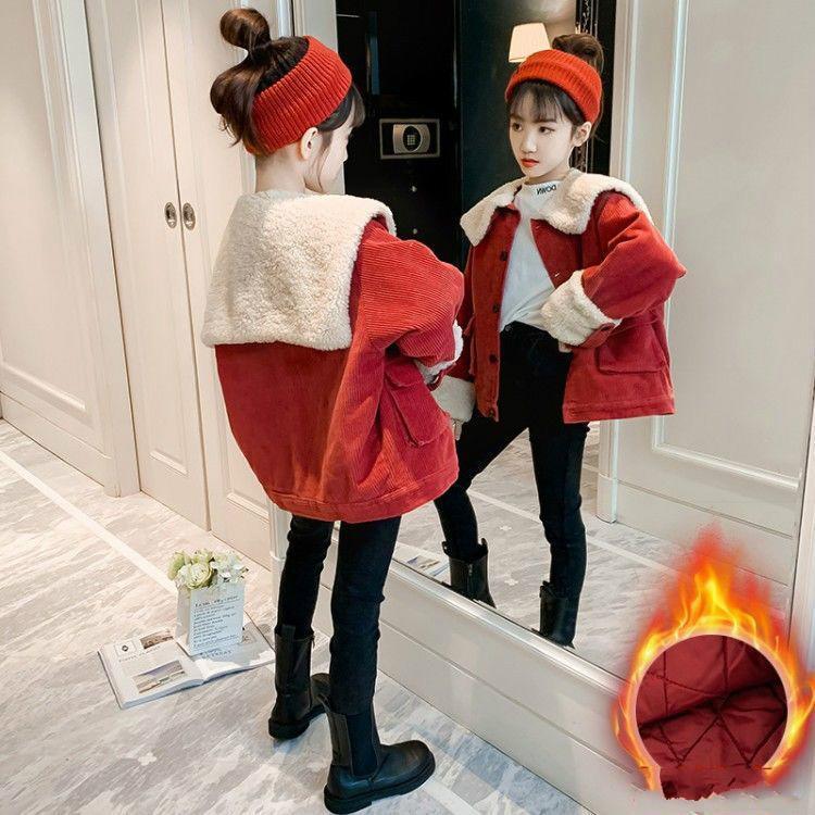 2021 осень зима новых детских девочек куртка пальто детей меховой воротник теплая куртка детский малыш теплый соревнования верхняя одежда одежда D103